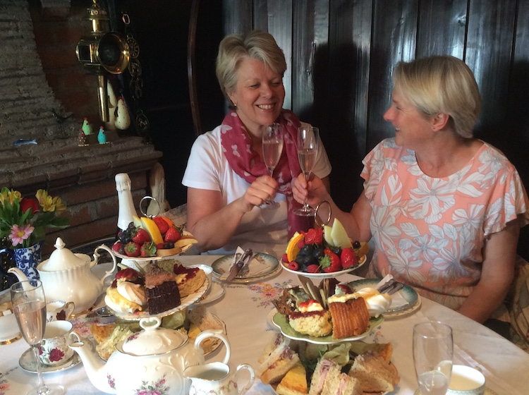 Two Lovely Customers Enjoying our Hightea with Bubbly