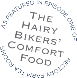 Hairy Bikers Comfort Food Logo with Link to Programme Home Page on the BBC Website.